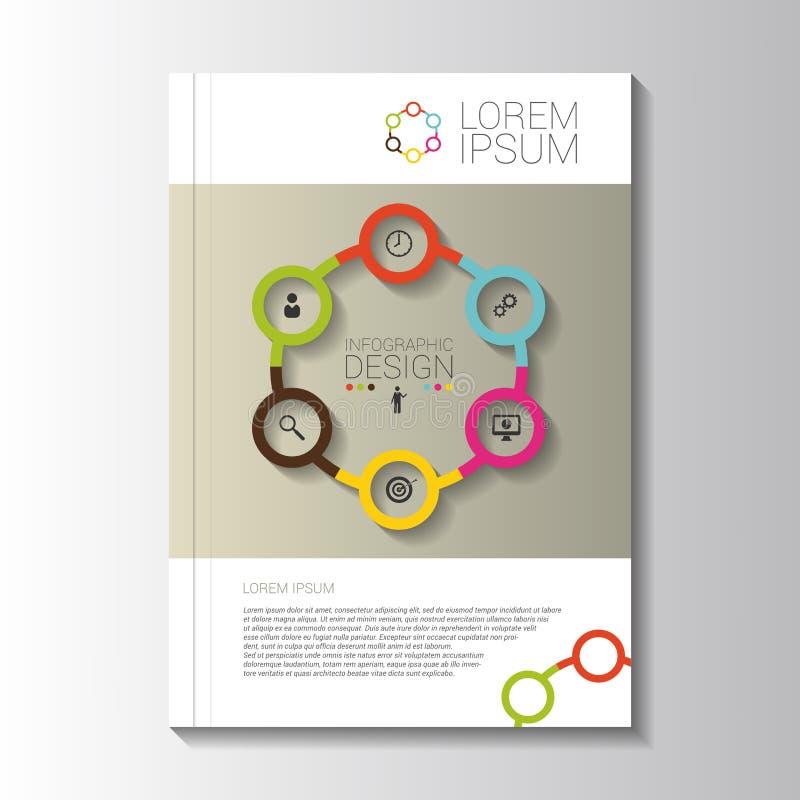 De vectorvlieger van de ontwerpkleur met infographic elementen malplaatje stock illustratie