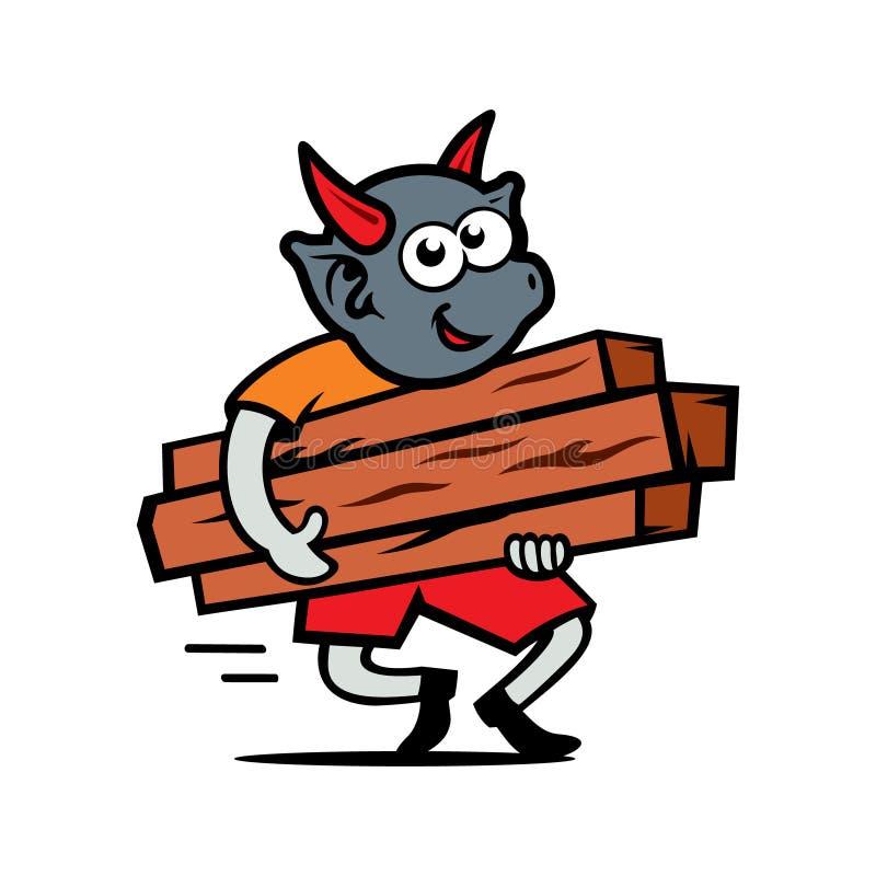 De vectorvloek draagt de Illustratie van het brandhoutbeeldverhaal royalty-vrije illustratie