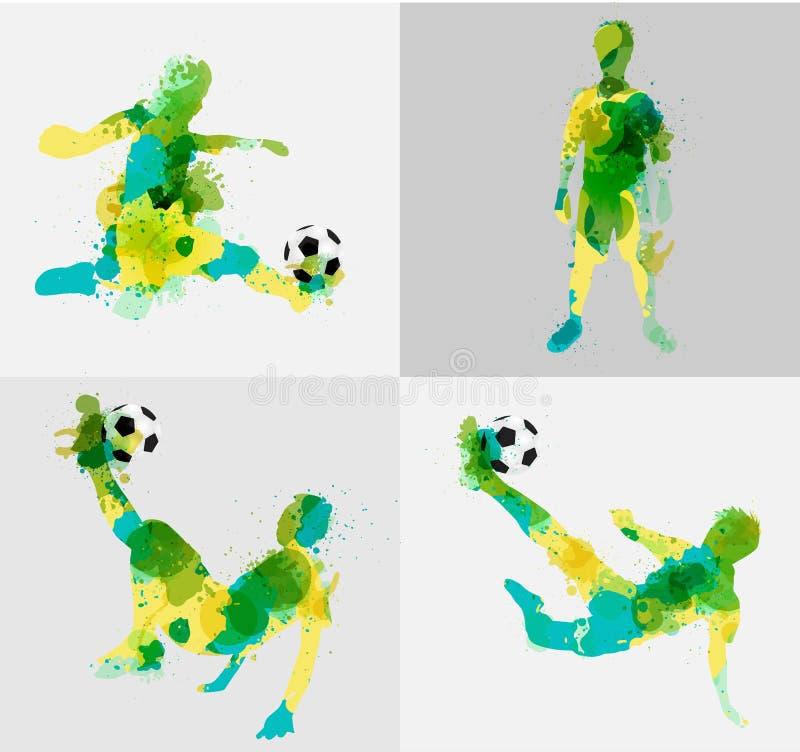 De vectorvoetballer schopt de bal met verf ploetert ontwerp vector illustratie