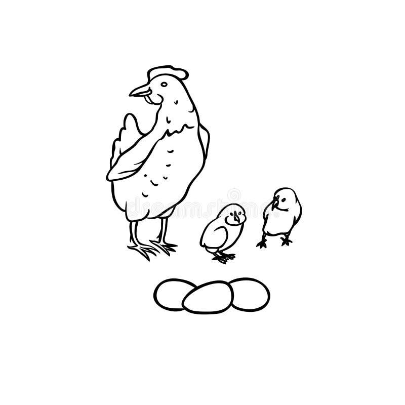 De vectorvogels van het schetslandbouwbedrijf Kwekende legkippen en kuikens, drie eieren Reeks geïsoleerde zwart-witte illustrati stock illustratie