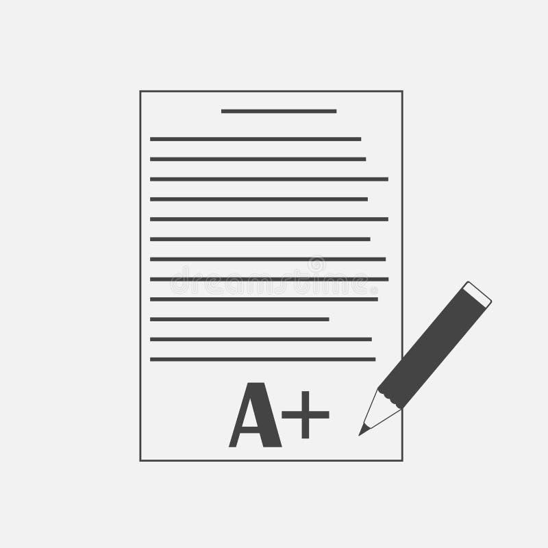De vectorvorm van de pictogramschool met rangen Uitstekend testresultaat E vector illustratie