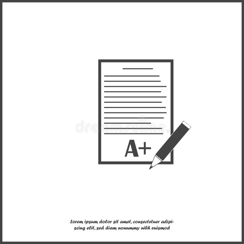 De vectorvorm van de pictogramschool met rangen Uitstekend testresultaat Het beeldblad van document met een potlood op wit isolee royalty-vrije illustratie