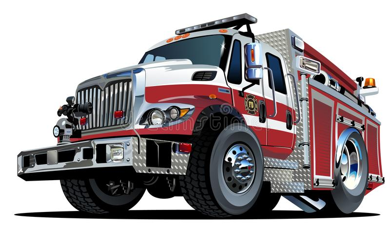 De vectorvrachtwagen van de Beeldverhaalbrand vector illustratie