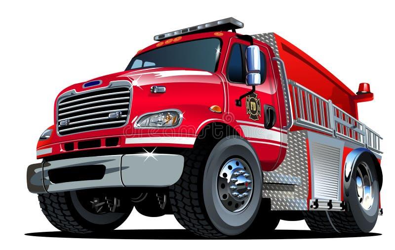 De vectorvrachtwagen van de Beeldverhaalbrand stock illustratie