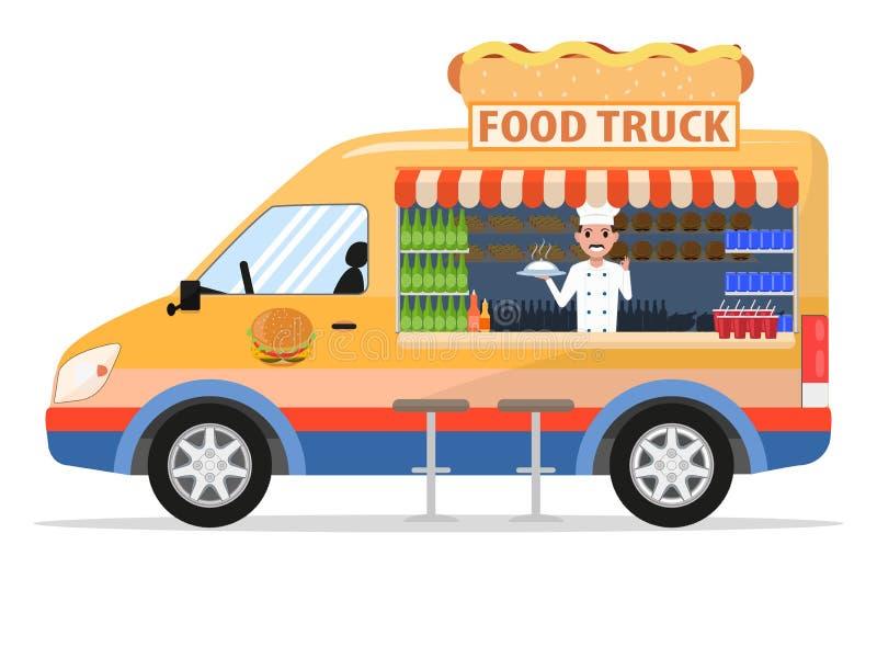 De vectorvrachtwagen van het beeldverhaalvoedsel met mannelijke verkoper royalty-vrije illustratie