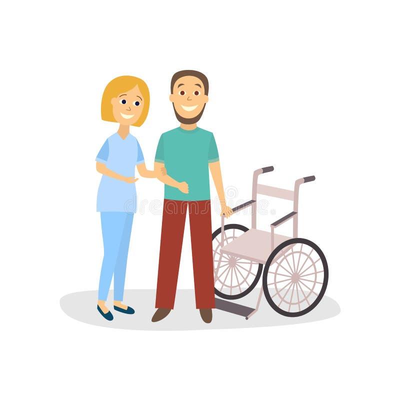 De vectorvrouw helpt patiënt om dichtbij rolstoel te blijven royalty-vrije illustratie