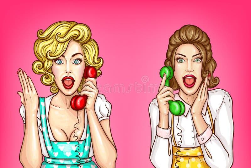 De vectorvrouwen spreken op de telefoon, opgewekte huisvrouwen vector illustratie