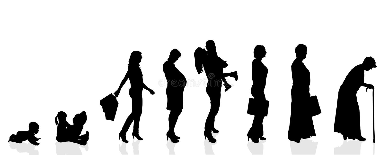 De vectorvrouwen van de silhouetgeneratie vector illustratie