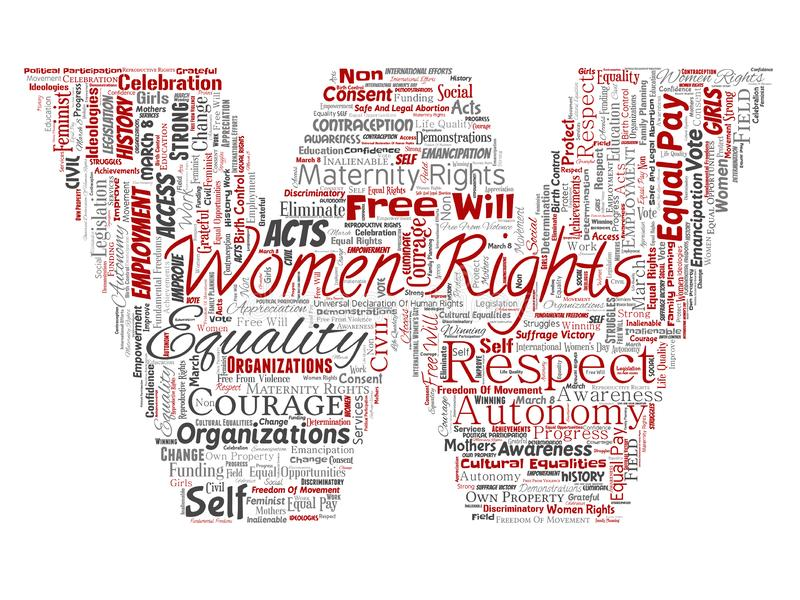 De vectorvrouwenrechten, gelijkheid, zullen vrij-doopvont W van letters voorzien royalty-vrije illustratie