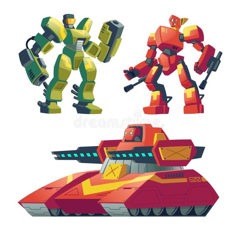 De vectorwachten van de beeldverhaalrobot, tank Slagandroids vector illustratie