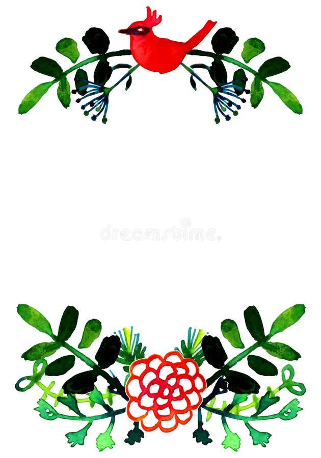 De vectorwaterverf kleurrijke bloemenkronen met de zomer bloeit en centrale witte copyspace voor uw tekst stock illustratie