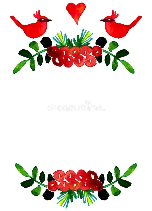 De vectorwaterverf kleurrijke bloemenkronen met de zomer bloeit en centrale witte copyspace voor uw tekst royalty-vrije illustratie