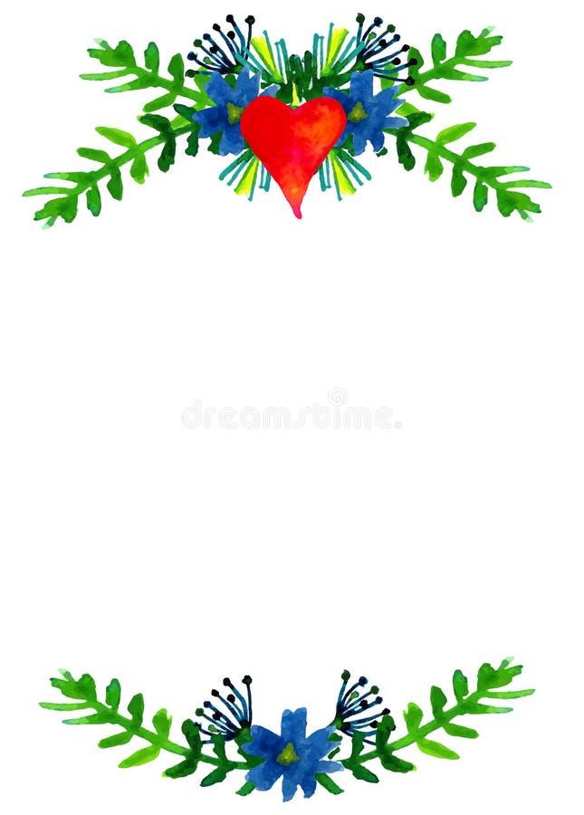 De vectorwaterverf kleurrijke bloemenkronen met de zomer bloeit en centrale witte copyspace voor uw tekst vector illustratie