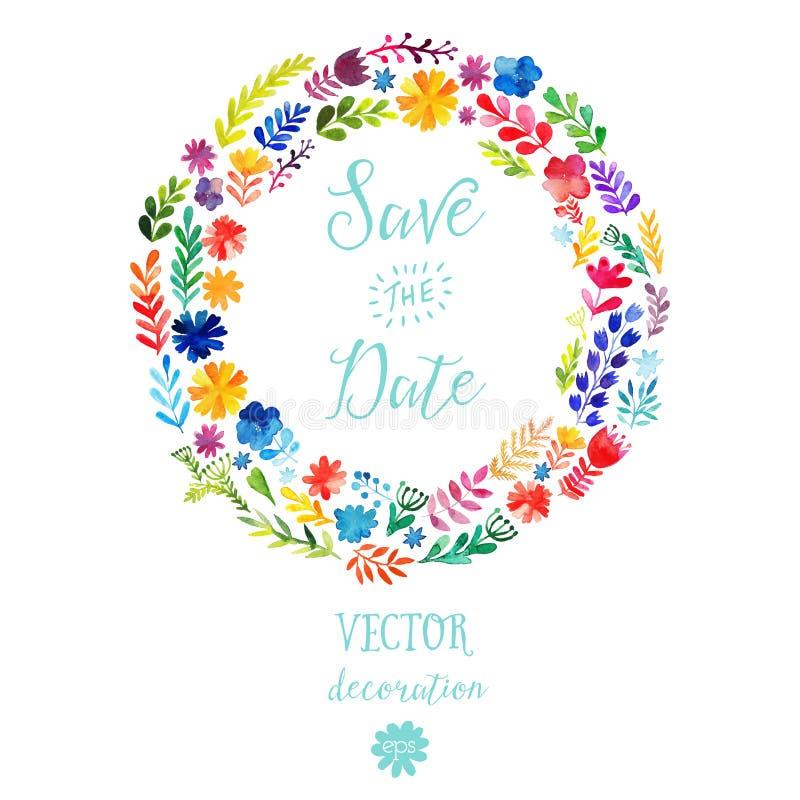 De vectorwaterverf kleurrijke cirkel bloemenkronen met de zomer bloeit en centrale witte copyspace voor uw tekst Handdrawn vector vector illustratie