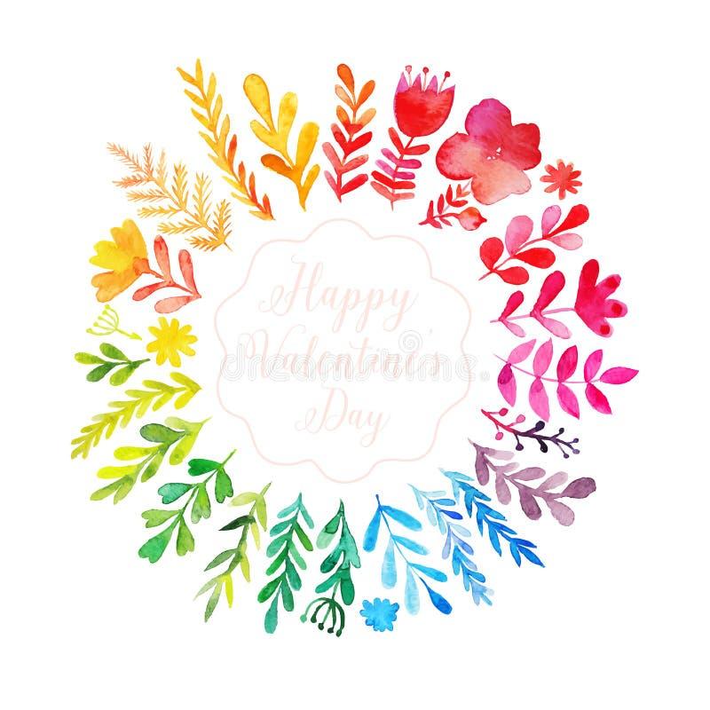 De vectorwaterverf kleurrijke cirkel bloemenkroon met de zomer bloeit en centrale witte exemplaarruimte voor uw tekst Handdrawn v vector illustratie