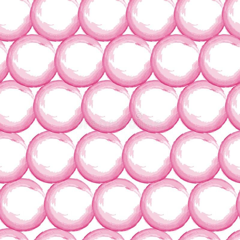 De vectorwaterverf omcirkelt rozerode naadloze patroontegel Hand getrokken stippenachtergrond stock illustratie