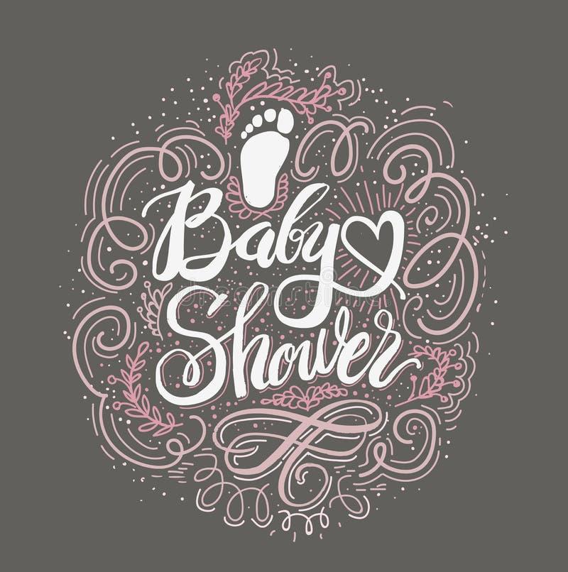 De vectorwaterverf roze sticker plaatste het ` s een meisje Douche van de kalligrafie de van letters voorziende Baby Element voor royalty-vrije illustratie