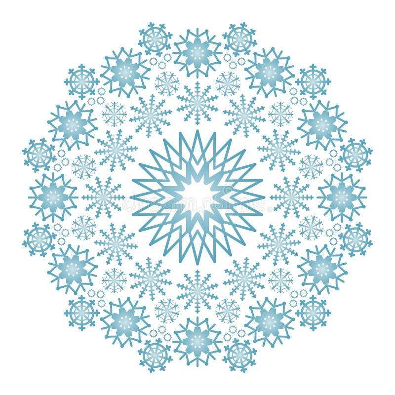 De vectorwinter kleurde cirkelmandala met blauwe sneeuwvlokken stock illustratie