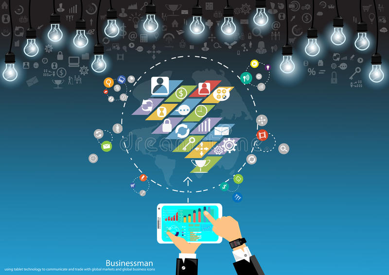 De vectorzakenman mobiele zaken communiceren over het handel en marktanalyse vlakke ontwerp vector illustratie