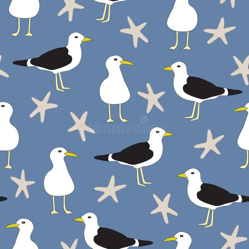 De vectorzeemeeuwen en de Stervissen in Blauwe, Witte en Bruine Naadloos herhalen Patroon stock illustratie