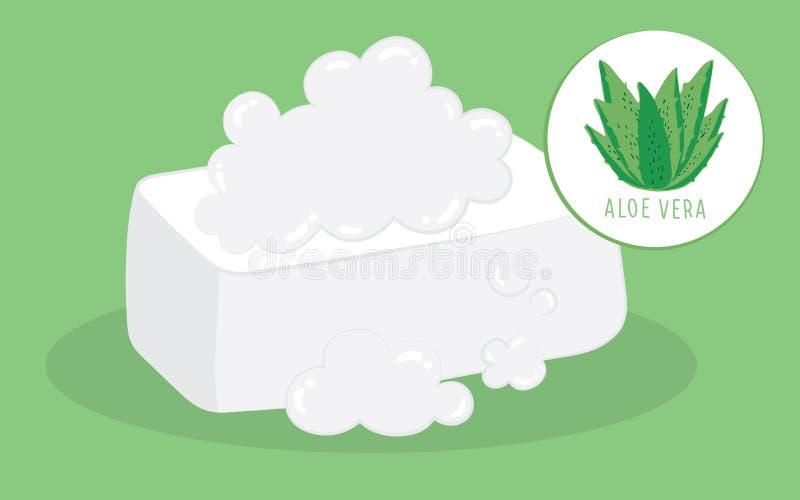 De vectorzeep van aloëvera, Hand getrokken illustratieschoonheidsmiddel royalty-vrije illustratie