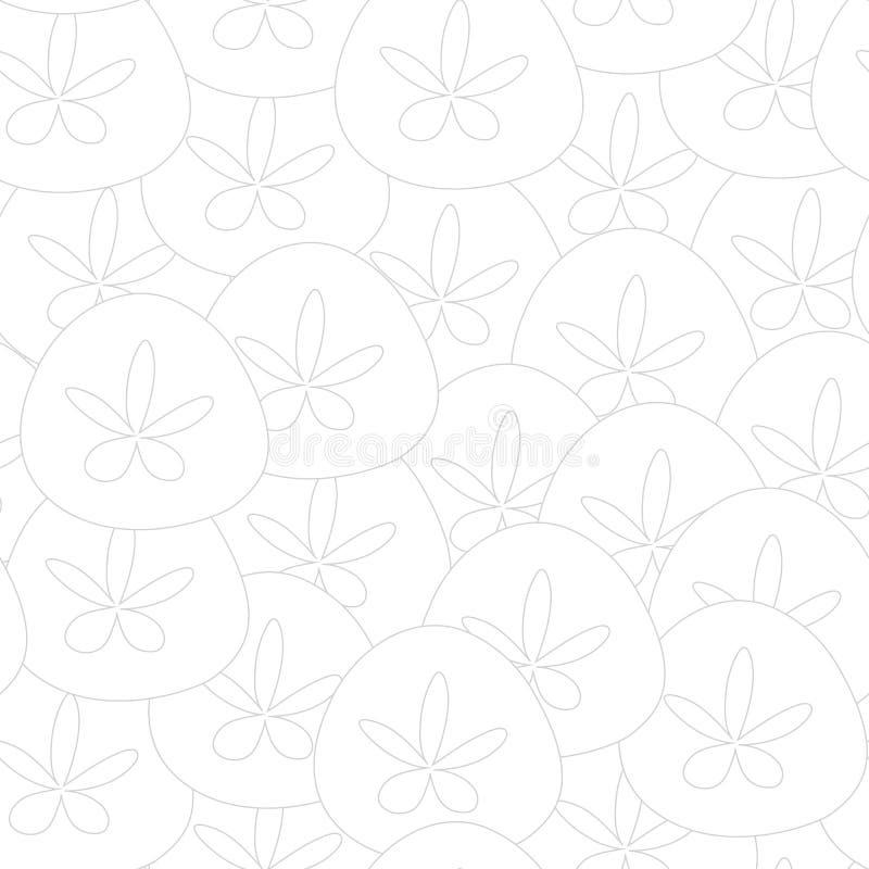 De vectorzeeschelpen van de Zanddollar in Witte Naadloze Textuur herhalen Patroon vector illustratie