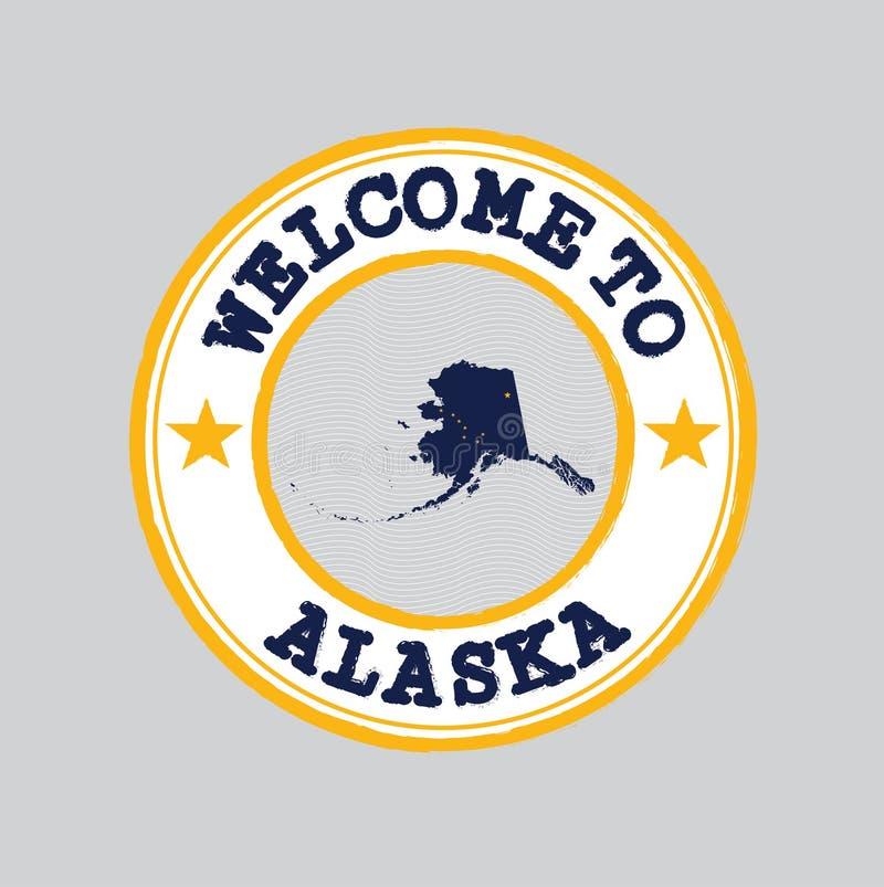 De vectorzegel van onthaal aan Alaska met staten markeert op kaartoverzicht in het centrum stock illustratie