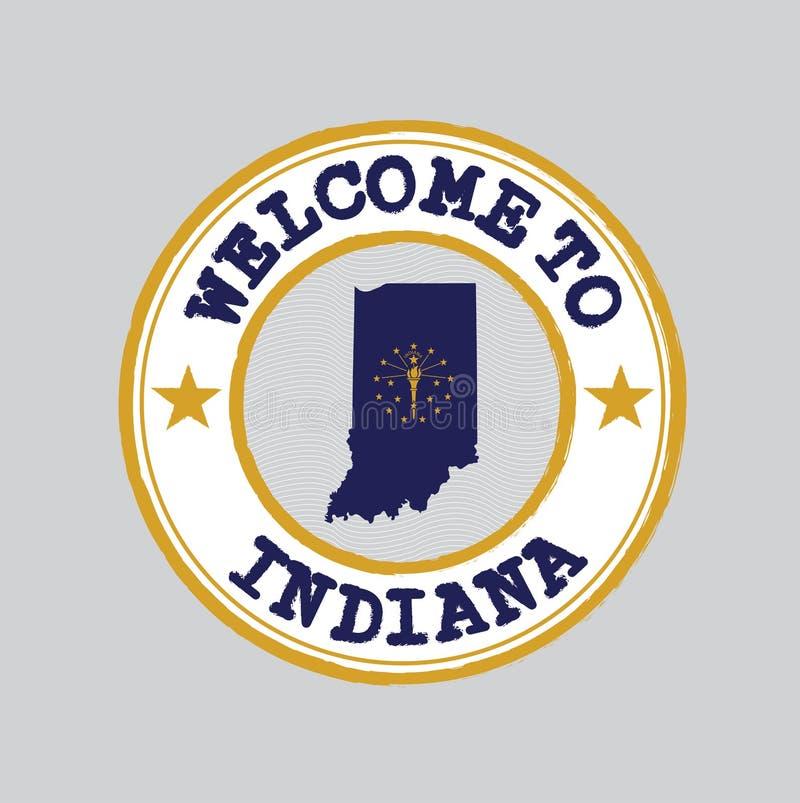 De vectorzegel van onthaal aan Indiana met staten markeert op kaartoverzicht in het centrum royalty-vrije illustratie