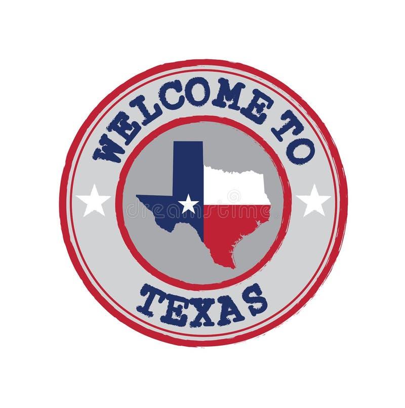 De vectorzegel van onthaal aan Texas met staten markeert op kaartoverzicht in het centrum stock illustratie