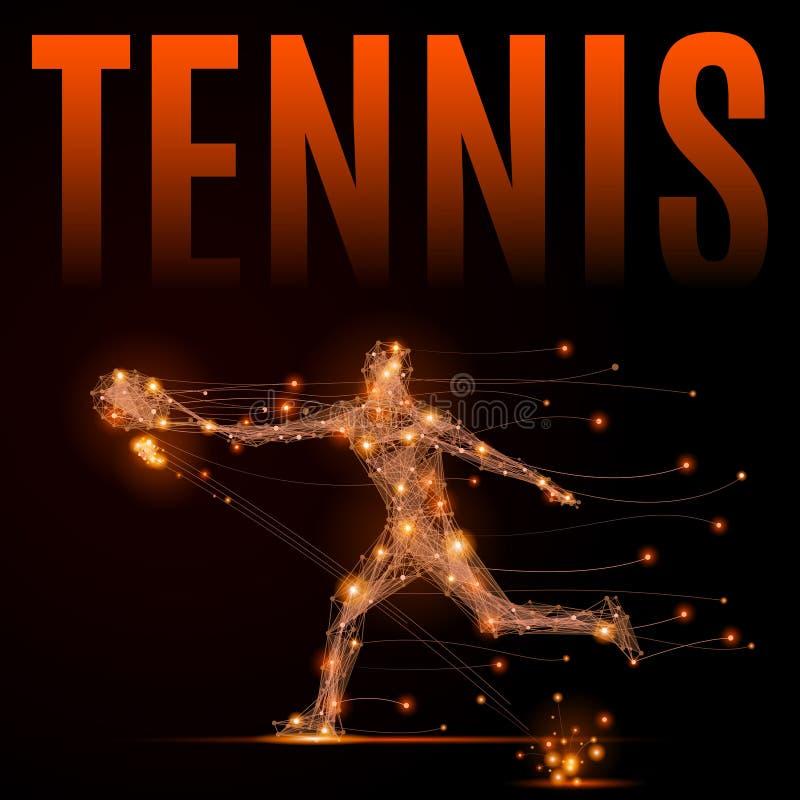 De veelhoek van de tennisspeler stock illustratie