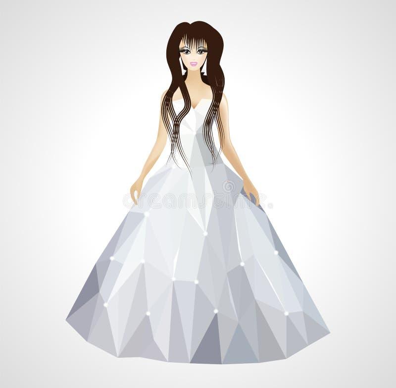De veelhoekige bruid van de huwelijkskleding met lang haar royalty-vrije illustratie