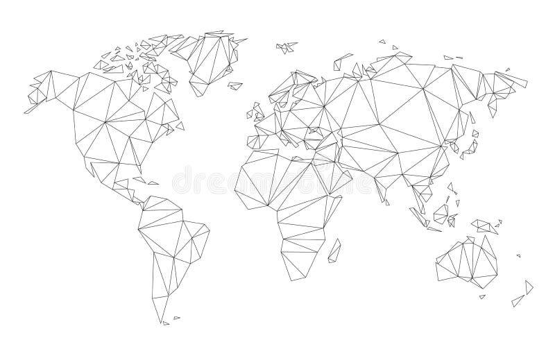 De veelhoekige die vector van de wereldkaart aan driehoekige lijnen op witte achtergrond wordt vereenvoudigd vector illustratie