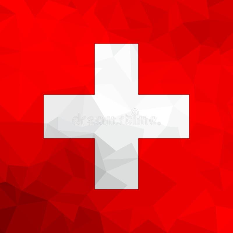 De veelhoekige vlag van Zwitserland Mozaïek moderne achtergrond Geometrisch ontwerp royalty-vrije illustratie