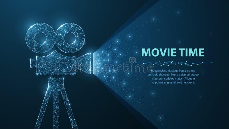 De veelhoekige wireframefilmprojector toont film bij nacht op donkerblauw met sterren in licht hem stock illustratie