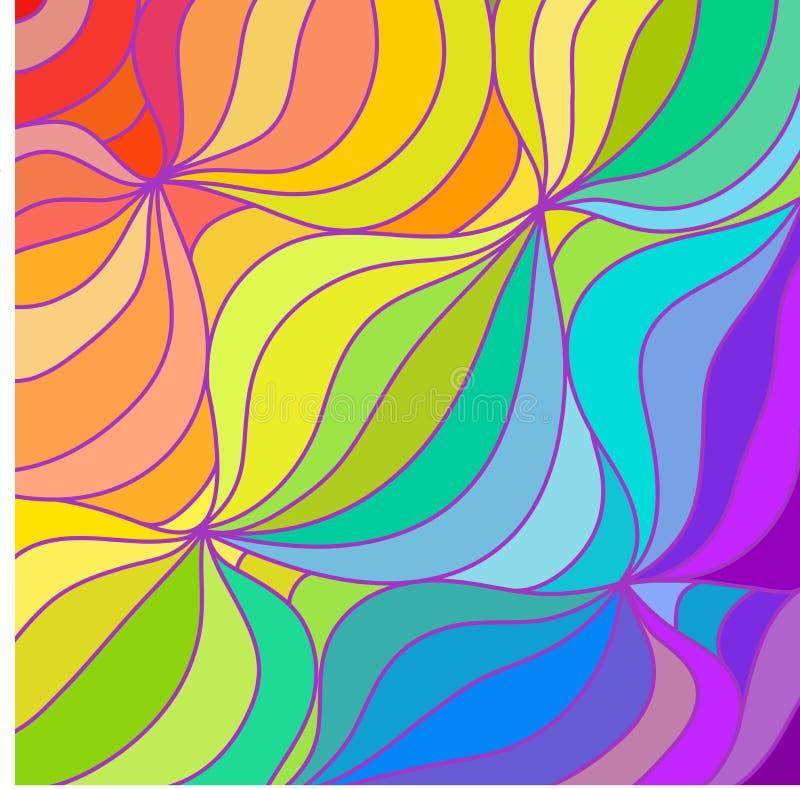 De veelkleurige achtergrond van regenbooglijnen Illustratie stock foto