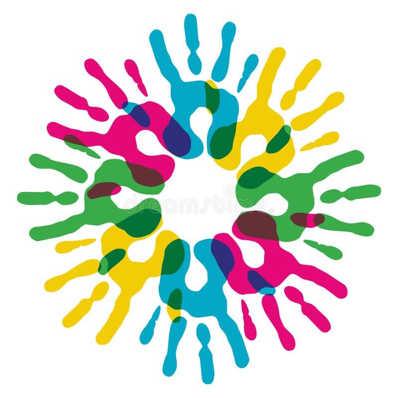 De veelkleurige cirkel van diversiteitshanden stock illustratie