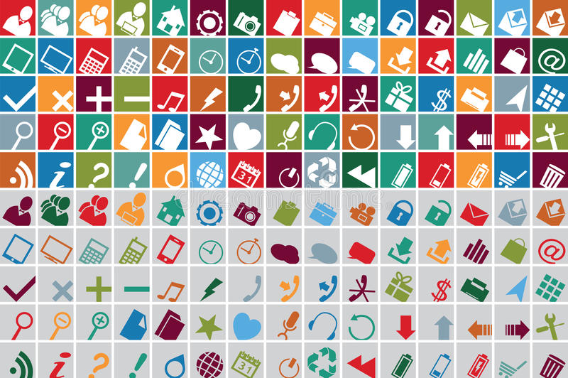 De veelkleurige pictogrammen van het Web vector illustratie