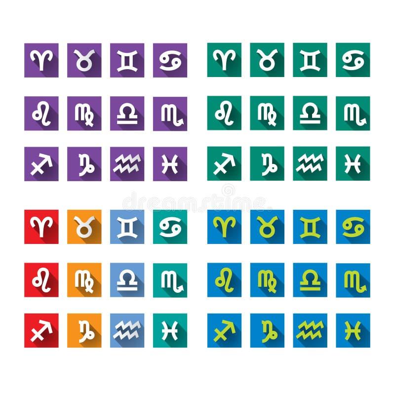 De veelkleurige pictogrammen van de olordierenriem Geplaatste de Pictogrammen van de dierenriem Dierenriemembleem royalty-vrije illustratie