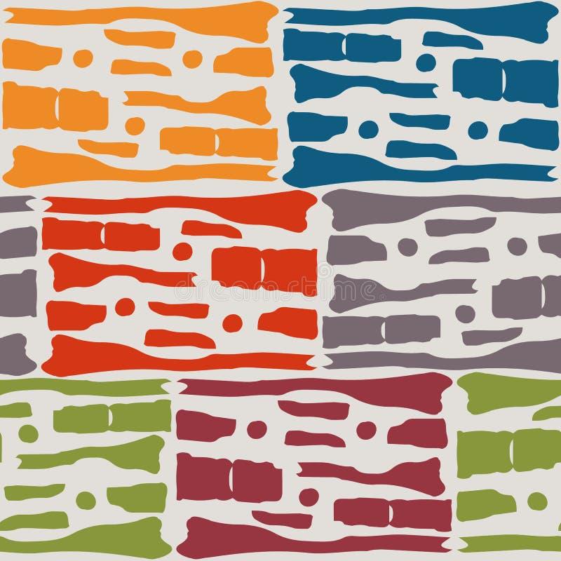 De veelkleurige stammenvormen in mozaïekbaksteen herhalen ontwerp Naadloos vectorpatroon op warme grijze achtergrond met tinten v royalty-vrije illustratie