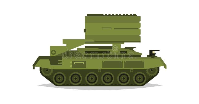 De veelvoudige systemen van de lanceringsraket Militaire uitrusting Speciaal vervoer Raketten, bommen, vernietiging van de vijand vector illustratie