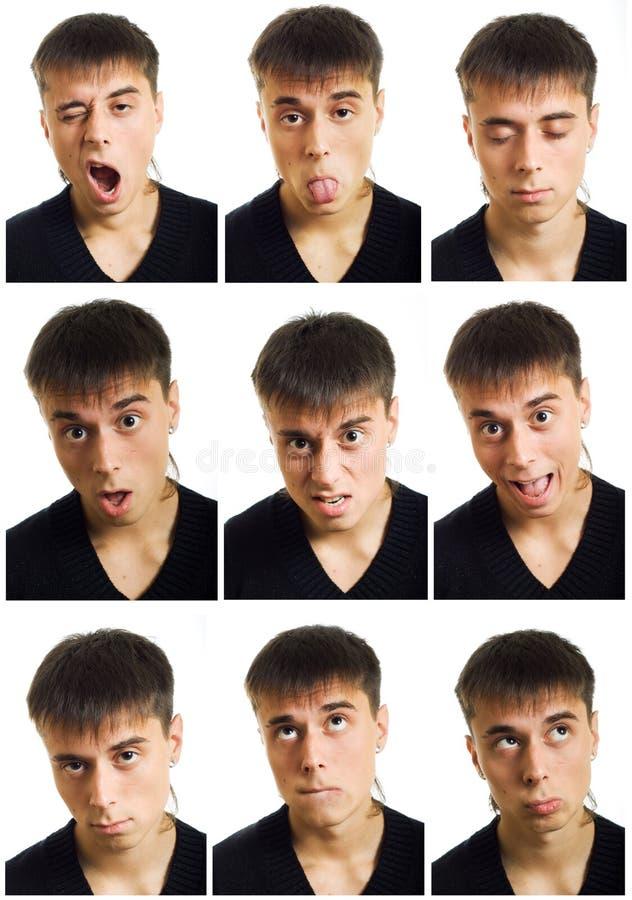De veelvoudige uitdrukking van het mensengezicht. stock foto