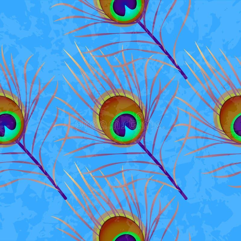 De Veer van de pauw De textuur van Grunge Naadloos patroon Achtergrond voor een uitnodigingskaart of een gelukwens royalty-vrije illustratie