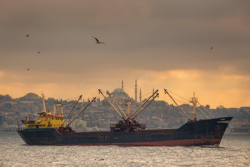 De veerboot die van Istanboel in het Overzees en Bosphorus varen royalty-vrije stock afbeelding