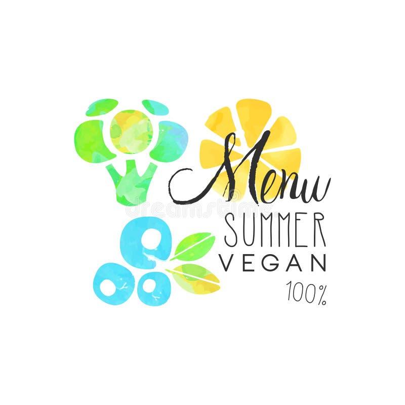 De veganist van de menuzomer 100 percentenembleem, element voor gezonde voedsel en dranken, vegetarisch restaurant en barmenu, fr royalty-vrije illustratie