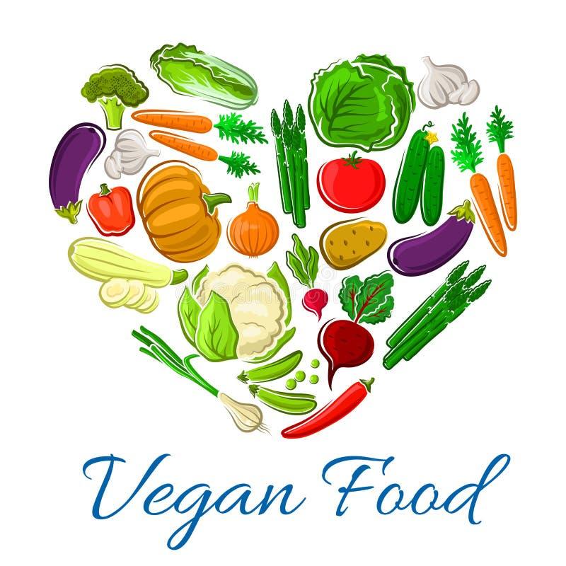 De vegetarische vectoraffiche van het groentenhart veggies stock illustratie