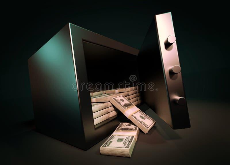 De Veilige Storting van het contant geldgeld Kleine Woonkluis met Stapel van Contant geldgeld 3d geef terug stock illustratie