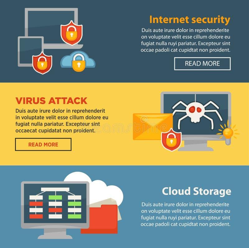 De veiligheid en de wolkenbanners van het het malplaatjeweb van de opslagbescherming van Internet de vector royalty-vrije illustratie
