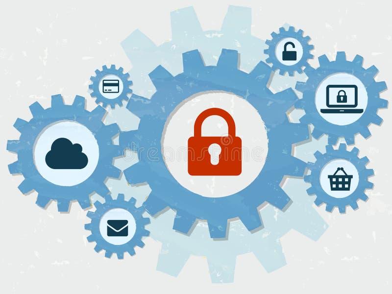 De veiligheid, het hangslot en de technologietekens van Internet in grunge vlakke D vector illustratie