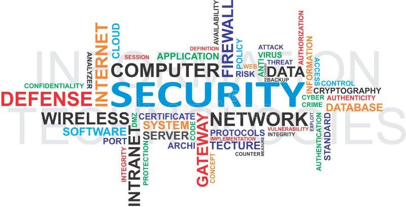 De Veiligheid WordCloud van IT royalty-vrije illustratie