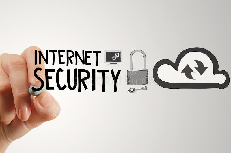 de veiligheids online zaken van tekeningsinternet royalty-vrije stock afbeelding